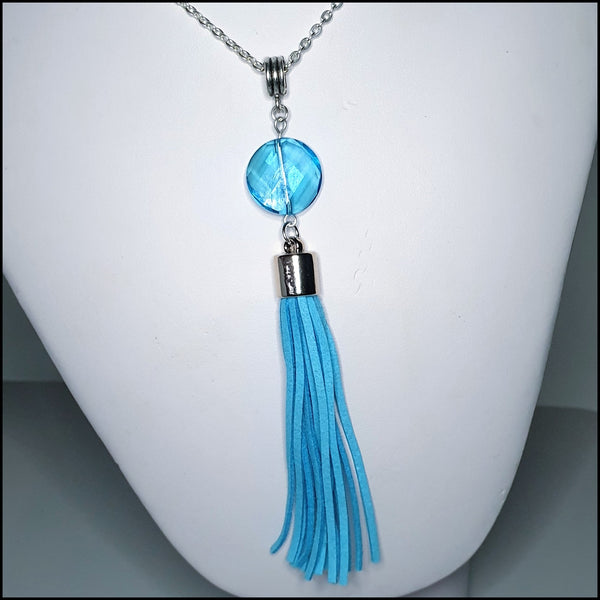 Handmade Tassel Necklace - Blue
