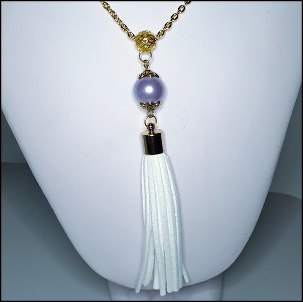 Handmade Tassel Necklace - White