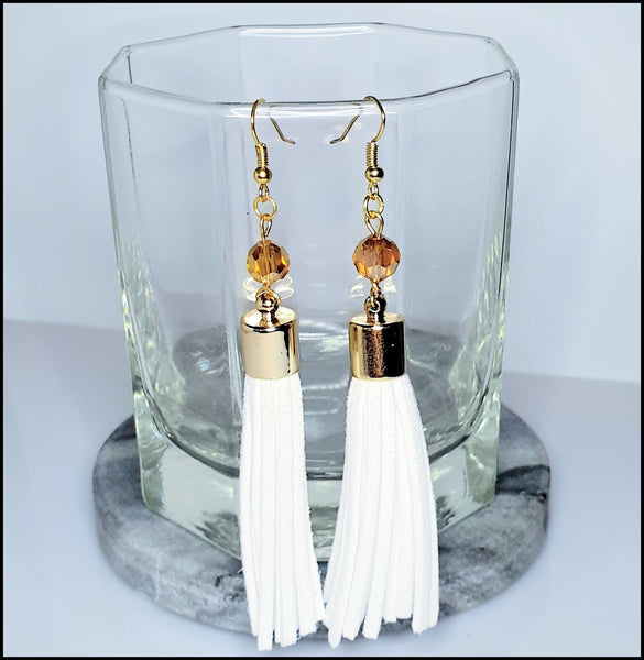 Handmade Tassel Earrings - White