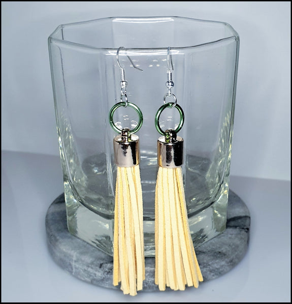 Handmade Tassel Earrings - Cream