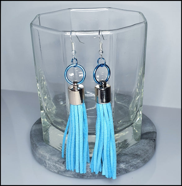 Handmade Tassel Earrings - Blue