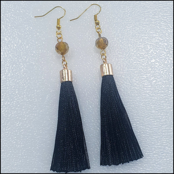 Handmade Fine Tassel Earrings - Black