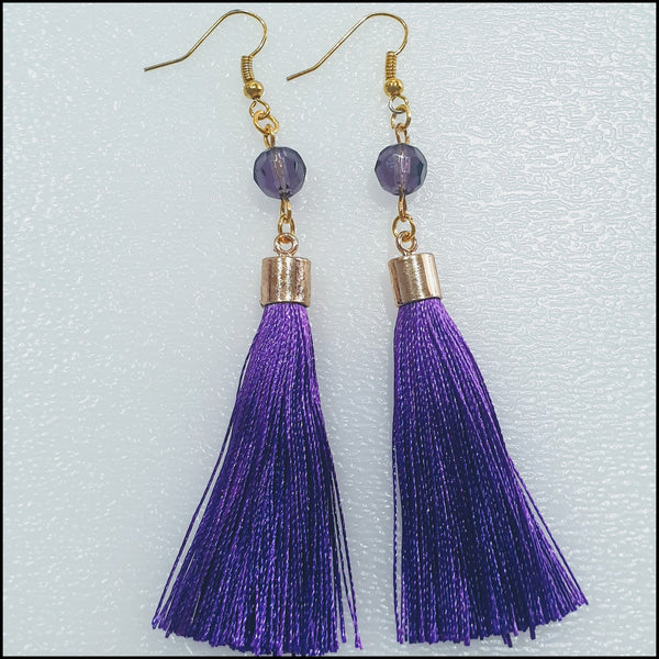 Handmade Fine Tassel Earrings - Purple