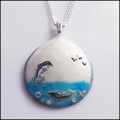 Shell Pendant - Two Dolphins