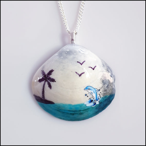 Shell Pendant - Blue Dolphin