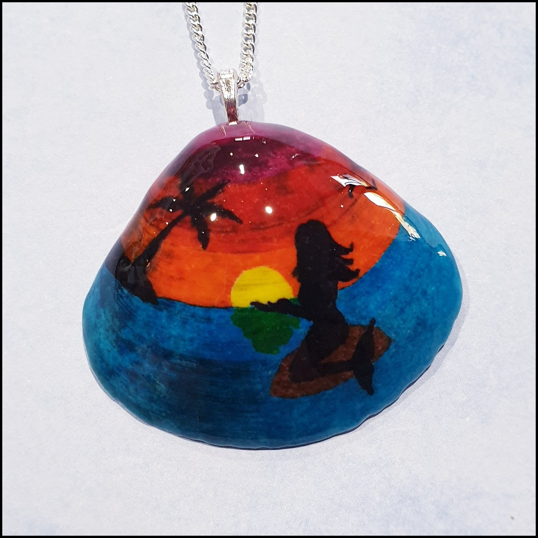 Shell Pendant - Sunset with Mermaid