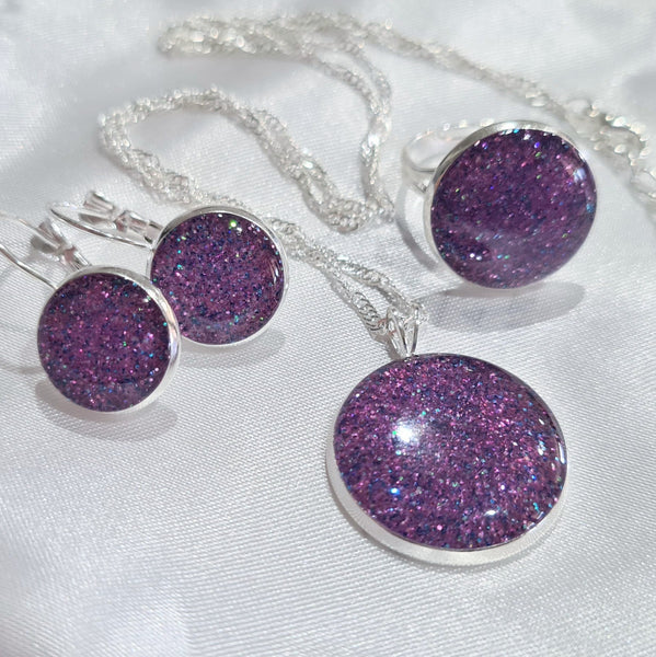 Glitter Resin 3 piece Jewellery Set