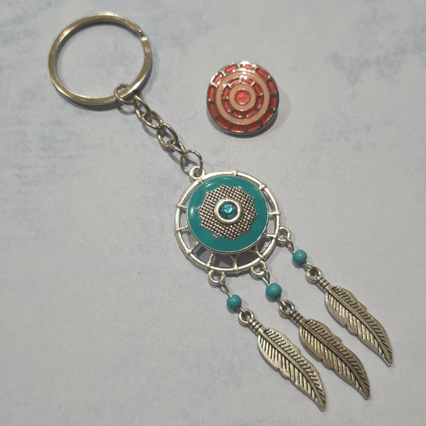 Dream Catcher Snap Button Keychain with 2 buttons