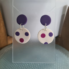 Polymer Clay Earrings Double Circles  - Purple & White with Dots