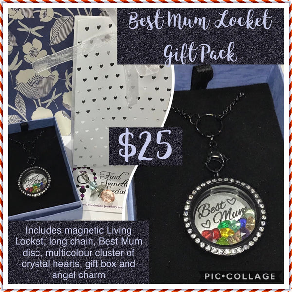 Black Crystal Locket Gift Pack