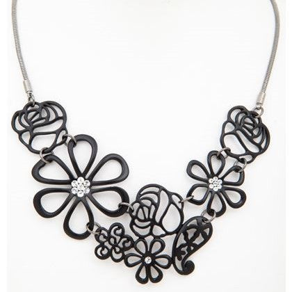 Black Bouquet Necklace