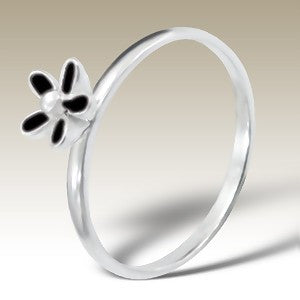 Black Flower Sterling Silver Stacking Ring
