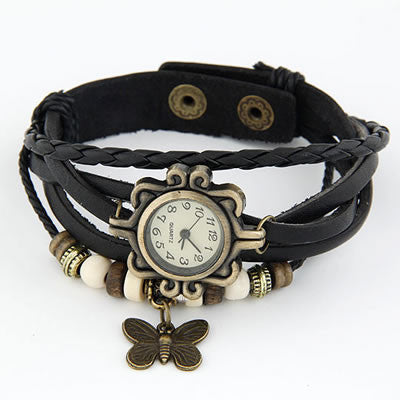 Vintage Leather Butterfly Watch - Black