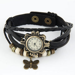 Vintage Leather Butterfly Watch - Black - Find Something Special