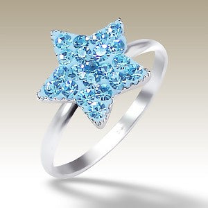 Blue Crystal Star Sterling Silver Stacking Ring