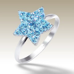 Blue Crystal Star Sterling Silver Stacking Ring - Find Something Special