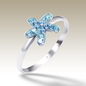 Blue Crystal Star Fish Sterling Silver Stacking Ring