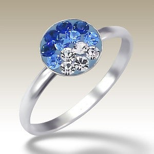 Blue Fade Crystal Disc Sterling Silver Stacking Ring