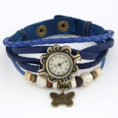 Vintage Leather Butterfly Watch - Blue
