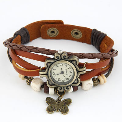 Vintage Leather Butterfly Watch - Brown
