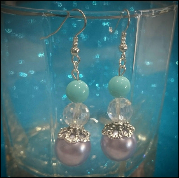 Handmade Earrings - Teal and Purple Drop