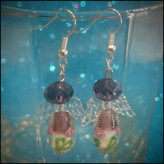 Handmade Earrings - Deep Purple Angels with Flowers - Find Something Special