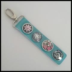 Leather 4 Snap Key Ring Teal - Set 2 - Find Something Special