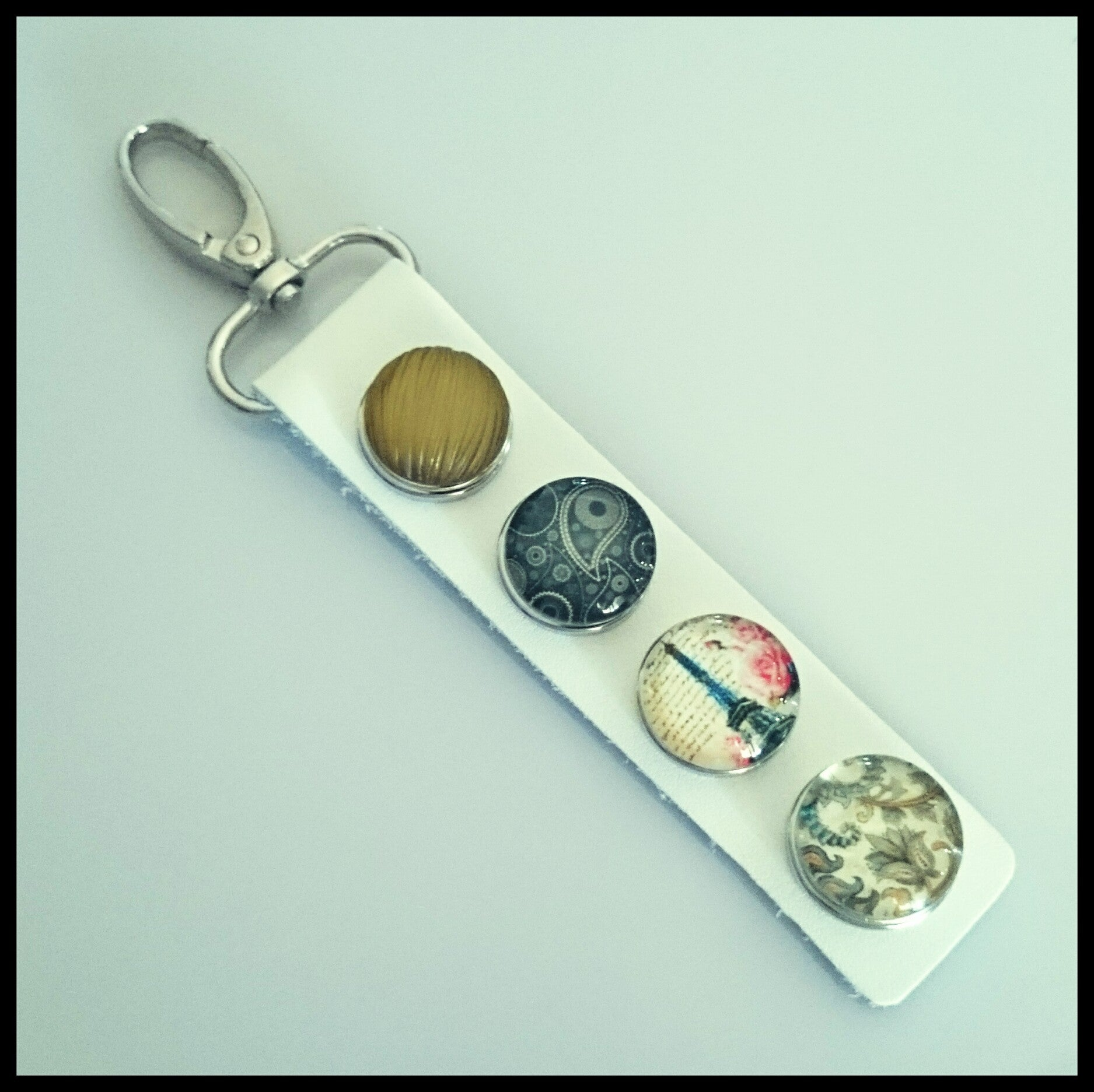 Leather 4 Snap Key Ring - White - Find Something Special