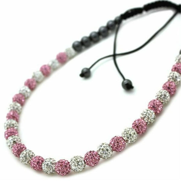 Full Clear & Pink Shamballa Crystal Necklace