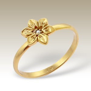 Crystal Centre Flower Gold Plated Sterling Silver Stacking Ring
