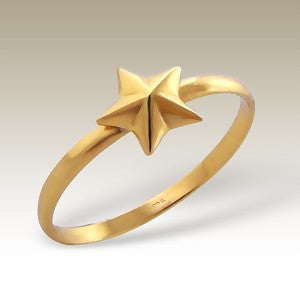 Star Gold Plated Sterling Silver Stacking Ring