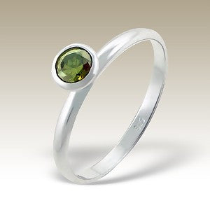 Green Single Crystal Sterling Silver Stacking Ring