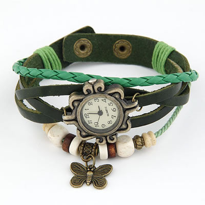 Vintage Leather Butterfly Watch - Green