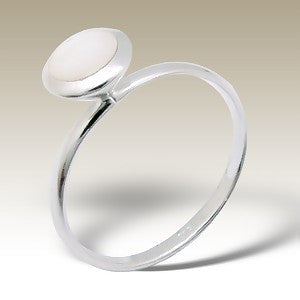 Opaque White Sterling Silver Stacking Ring