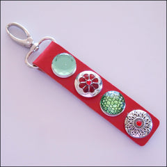 Leather 4 Snap Key Ring - Red - Find Something Special