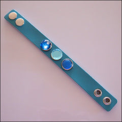 Wide Leather 3 Snap Bracelet Teal - Set 1 - Find Something Special