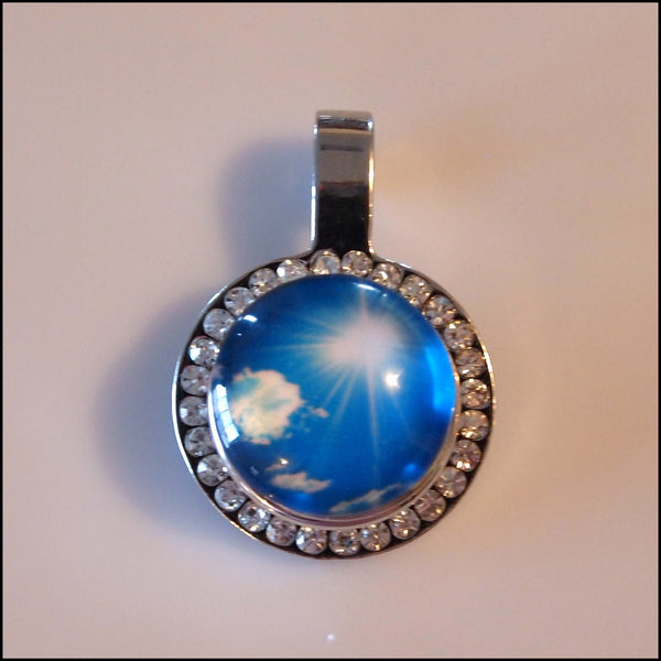Crystal Circle Snap Pendant with Snap Button