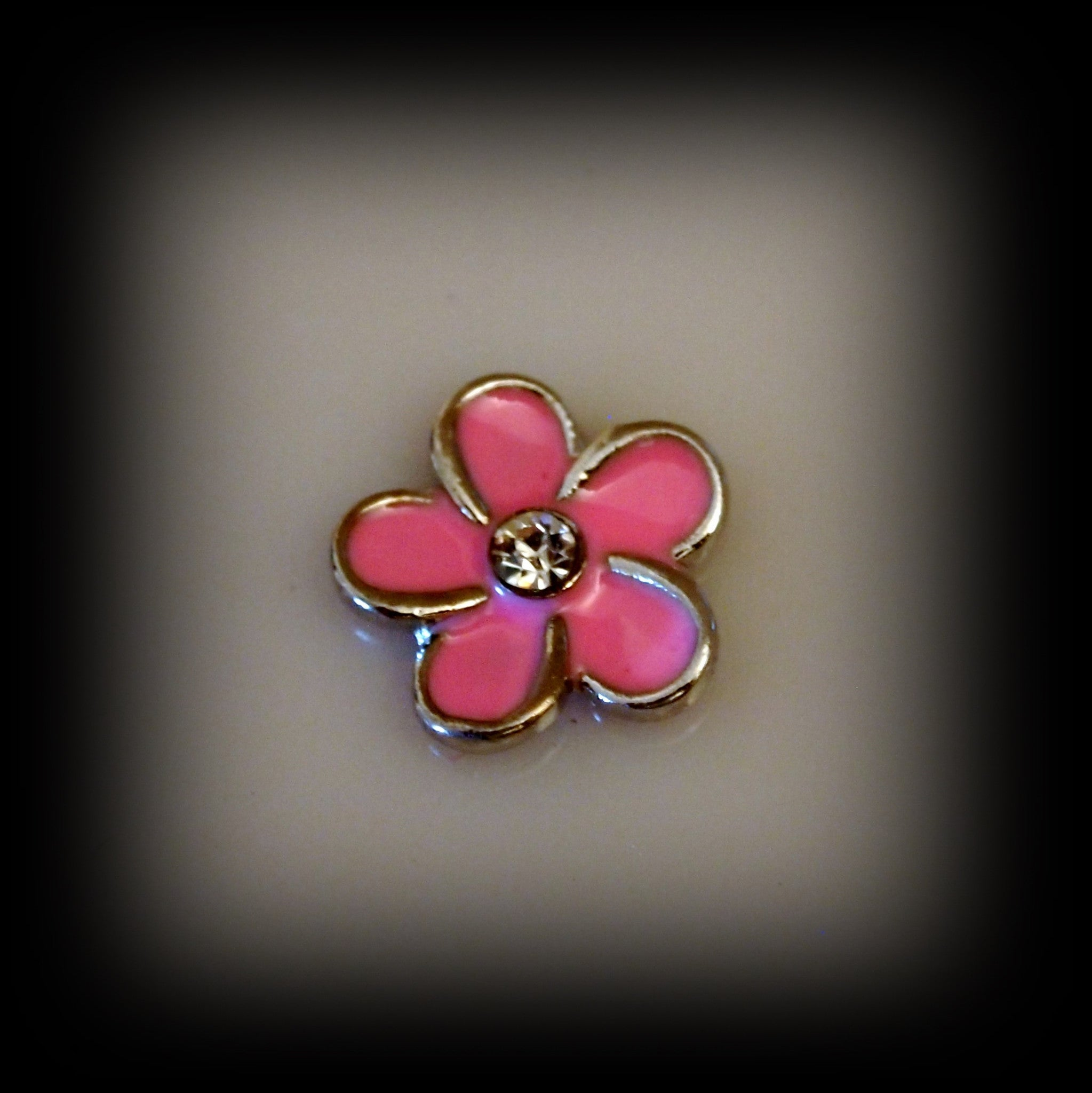 Pink Crystal Flower Floating Charm - Find Something Special