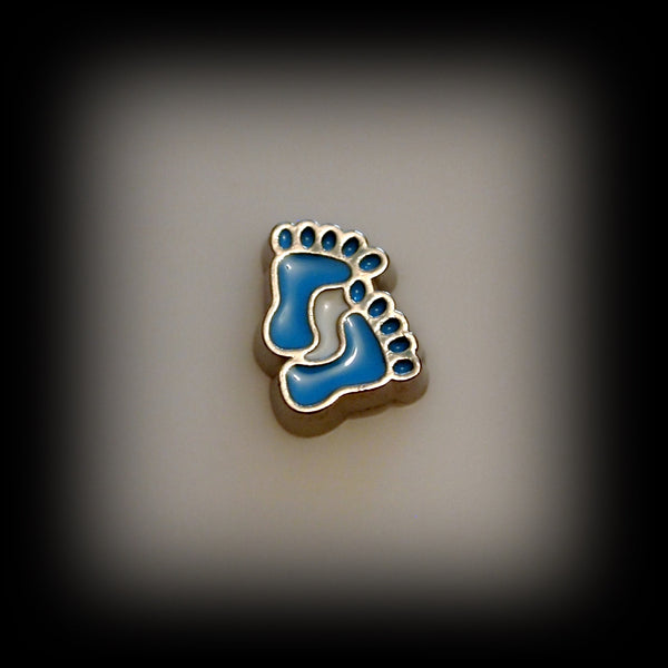 Blue Baby Feet Floating Charm
