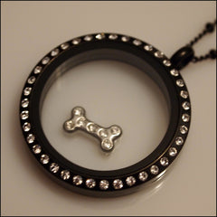 Crystal Dog Bone Floating Charm - Find Something Special