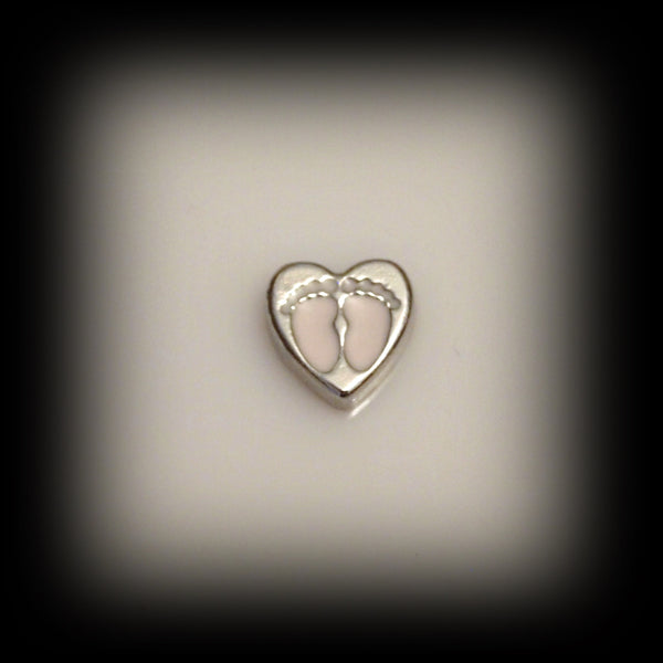 Baby Feet on Heart Floating Charm