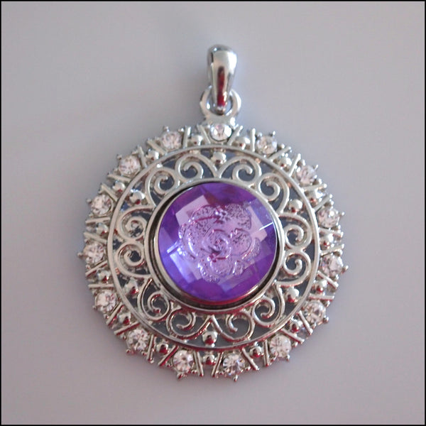 Decorative Round Crystal Snap Pendant with Snap Button