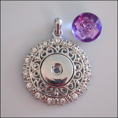 Decorative Round Crystal Snap Pendant with Snap Button - Find Something Special - 2