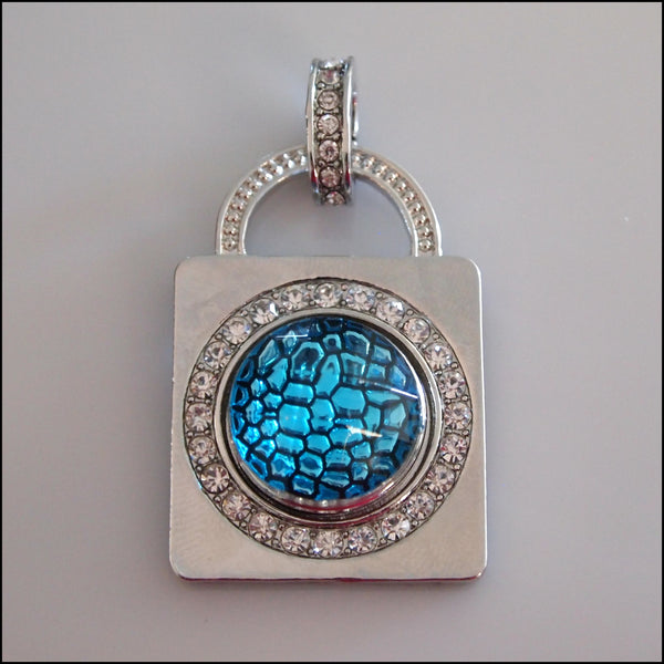 Crystal Padlock Snap Pendant with Snap Button