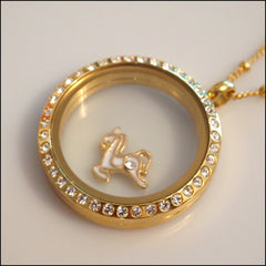 Gold Carousel Horse Floating Charm - Find Something Special