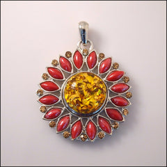 Flower Snap Pendant with Snap Button - Red - Find Something Special