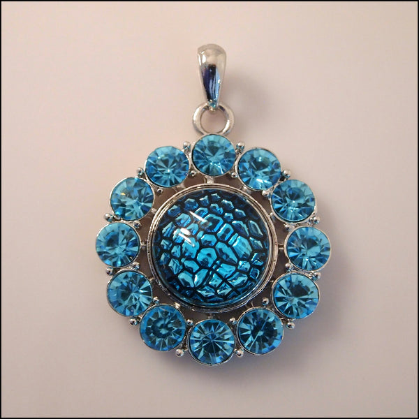 Bright Blue Crystal Snap Pendant with Snap Button