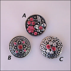 Deluxe Rose Crystal Snap Button - Find Something Special