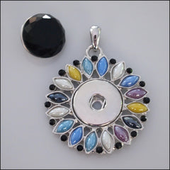 Flower Snap Pendant with Snap Button - Multicolour Pastel - Find Something Special