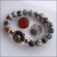 Elastic Grey Beaded Snap Bracelet with 2 Snaps - Find Something Special